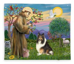 Saint Francis Blesses A Sable And White Collie Fleece Blanket