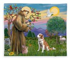 Saint Francis Blesses A Welsh Springer Spaniel Fleece Blanket