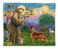 Saint Francis Blesses An Irish Setter Fleece Blanket
