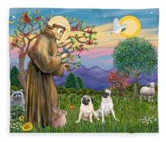 Saint Francis Blesses Two Fawn Pugs Fleece Blanket