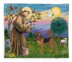 Saint Francis Blessing A Bloodhound Fleece Blanket