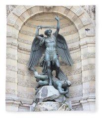 Saint Michael The Archangel In Paris Fleece Blanket