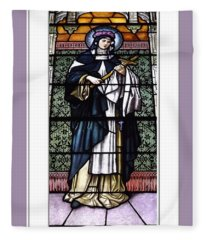 Saint Rose Of Lima Stained Glass Window Fleece Blanket