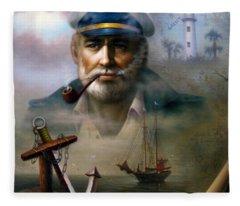 Saint Simons Island Sea Captain 2 Fleece Blanket
