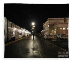 Salem Amtrak Depot At Night Fleece Blanket