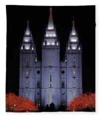Salt Lake Christmas Fleece Blanket