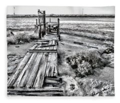 Salton Sea Dock Under Renovation By Diana Sainz Fleece Blanket