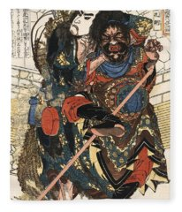 Samurai Mugging C. 1826 Fleece Blanket
