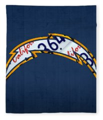 San Diego Chargers Football Team Retro Logo California License Plate Art Fleece Blanket
