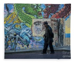 San Francisco Chinatown Street Art Fleece Blanket