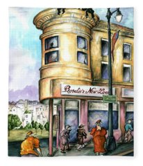 San Francisco North Beach - Watercolor Art Painting Fleece Blanket