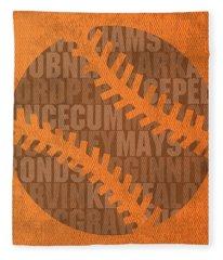 San Francisco Giants Baseball Typography Famous Player Names On Canvas Fleece Blanket