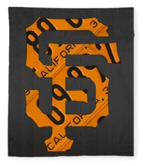 San Francisco Giants Baseball Vintage Logo License Plate Art Fleece Blanket