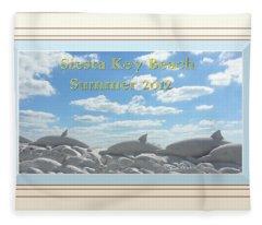 Sand Dolphins - Digitally Framed Fleece Blanket
