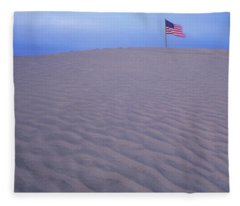 Sand Dunes American Flag Christmas Fleece Blanket
