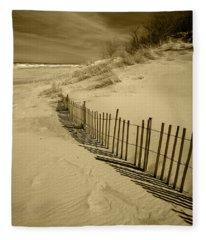 Sand Dunes And Fence Fleece Blanket