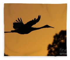 Sandhill Crane In Flight Fleece Blanket
