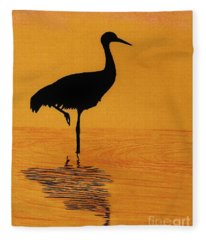 Sandhill - Crane - Sunset Fleece Blanket
