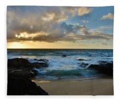 Sandy Beach Sunrise 5 - Oahu Hawaii Fleece Blanket