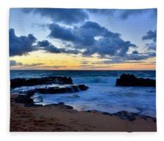 Sandy Beach Sunrise 6 - Oahu Hawaii Fleece Blanket