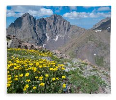 Sangre De Cristos Crestone Peak And Wildflowers Fleece Blanket