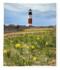 Sankaty Lighthouse Nantucket Fleece Blanket
