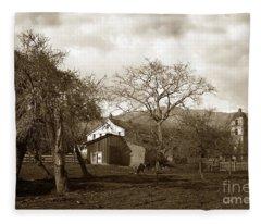 Santa Barbara Mission California Circa 1890 Fleece Blanket