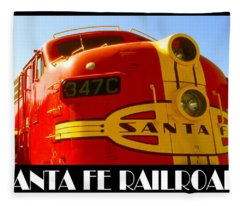 Santa Fe Railroad Color Poster Fleece Blanket