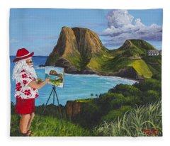 Santa In Kahakuloa Maui Fleece Blanket
