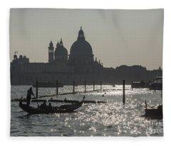 Santa Maria Della Salute And A Gondolier In Venice Fleece Blanket