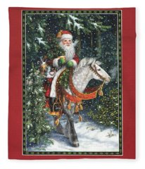 Santa Of The Northern Forest Fleece Blanket