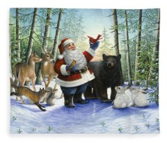 Santa's Christmas Morning Fleece Blanket
