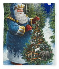 Santa's Christmas Tree Fleece Blanket