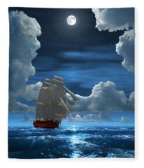 Santisima Trinida In The Moonlight 2 Fleece Blanket