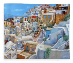 Santorini A Colori Fleece Blanket