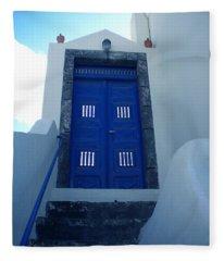 Santorini Door  To Heaven  Fleece Blanket