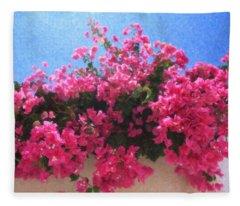 Santorini Flowers Grk1113 Fleece Blanket