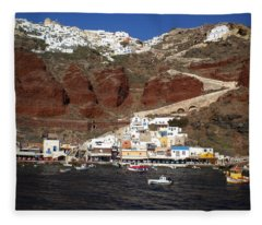 Santorini  Island  View To Oia Greece Fleece Blanket