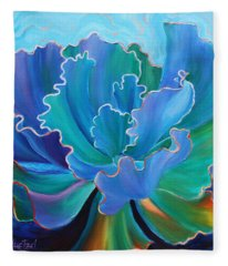 Fleece Blanket featuring the painting Sapphire Solitaire by Sandi Whetzel