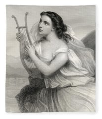 Sappho,illustration From World Noted Women By Mary Cowden Clarke, 1858 Engraving Fleece Blanket
