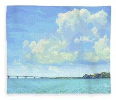 Sarasota Skyline From Sarasota Bay Fleece Blanket