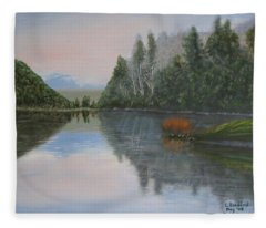 Sarita Lake On Vancouver Island Fleece Blanket