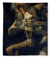 Saturn Devouring His Son Fleece Blanket