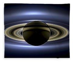 Saturn Mosaic With Earth Fleece Blanket