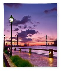 Savannah River Bridge Fleece Blanket