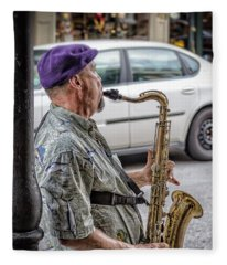 Sax In The Street Fleece Blanket