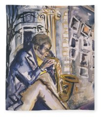 Sax Player, 1998 Wc On Paper Fleece Blanket
