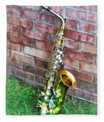 Saxophone Against Brick Fleece Blanket