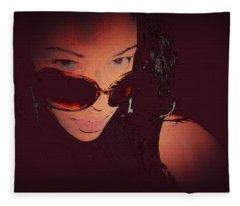 Futuristic Women Sunglasses Fashion Style Art Print Ai P. Nilson  Fleece Blanket