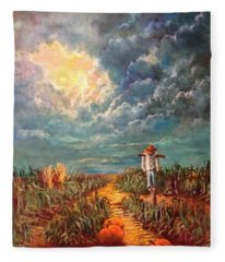 Scarecrow, Moon, Pumpkins And Mystery Fleece Blanket